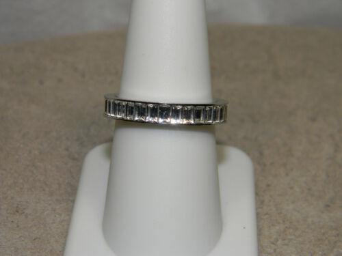 Authentic Swarovski Clear Crystal Baguette Eternity Band Ring   Size 8  Swan