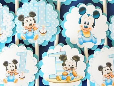 30 BABY MICKEY MOUSE Cupcake Toppers Birthday Party Favors, Decorations  30 - Baby Mickey Party Decorations