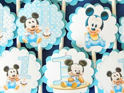 30 BABY MICKEY MOUSE Cupcake Toppers Birthday Party Favors, Decorations  - Baby Mickey Party Decorations