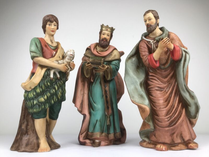 O-Well 3 Hand Painted PORCELAIN Nativity Shepards & Wiseman~Lot~Vintage 1994