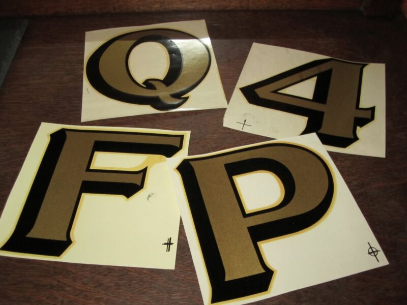 "A-Z 0-9 Vintage 5½"" Duro Waterslide Decals Letters Numbers Typography Gold Foil"