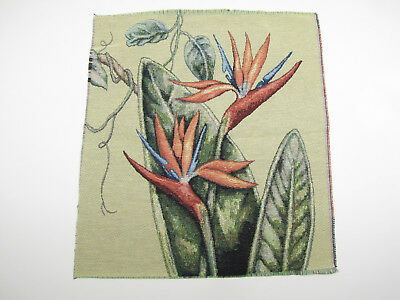 Bird of Paradise Exotic Tropical Flower Tapestry Fabric Pillow Panel Piece 17x18