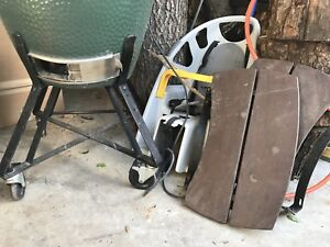 large big green egg nest and side tables