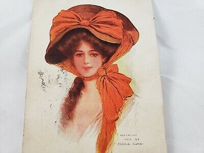 C 1908 Archie Gunn Artist Victorian Lady Red Hat American Beauty Series Postcard