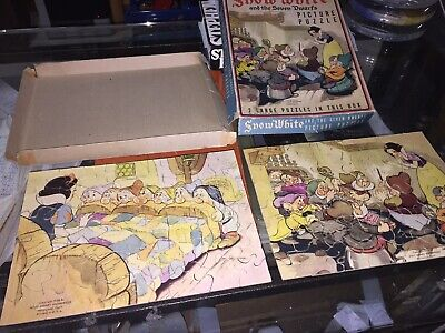 1938 SNOW WHITE AND THE SEVEN DWARFS 2 Picture Puzzles Disney Box Complete