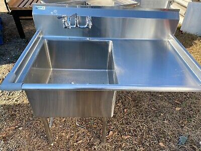 Gsw Stainless Steel 51 X 31 Commercial 1 Compartment Sink Wdrainboard Nsf