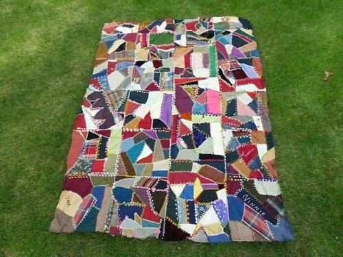 Embroidered Crazy Quilt Top - Family Antique Signed, Dated 1896