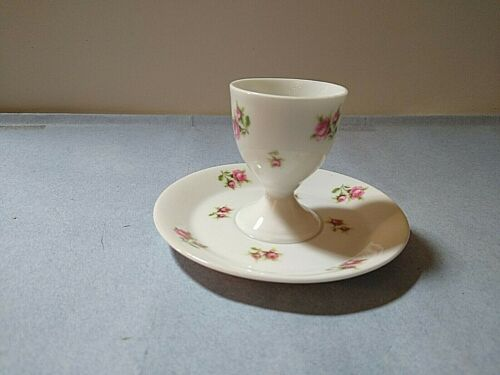 Rose pattern Austrian ceramic egg cup with attached underplate backstamp hard to