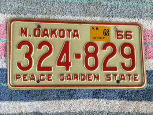 1966 1968 North Dakota License Plate 324 829