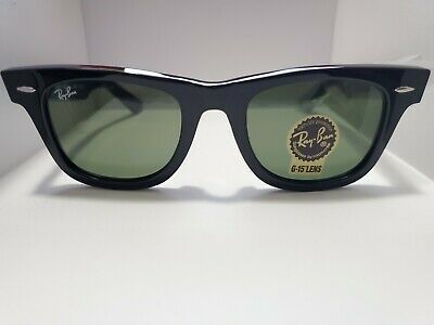 BRAND NEW Ray-Ban Original Wayfarer RB2140 901 Black Frame Green Lens 50mm