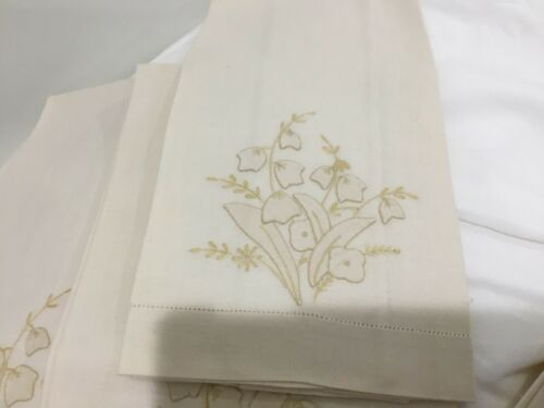 Lot 4 Towels Madeira Embroidery 22x14 Ivory Set Cotton