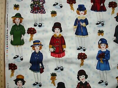 Holiday Paper Dolls Girls Hats Coats Flowers  Cotton Quilt Fabric 1/2 -