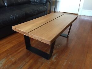 Handmade Thick Oak & Steel Coffee Table & End Tables