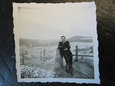 Original WWII German Kriegsmarine Sailor Soldier Poses Against Stone Photo 1940