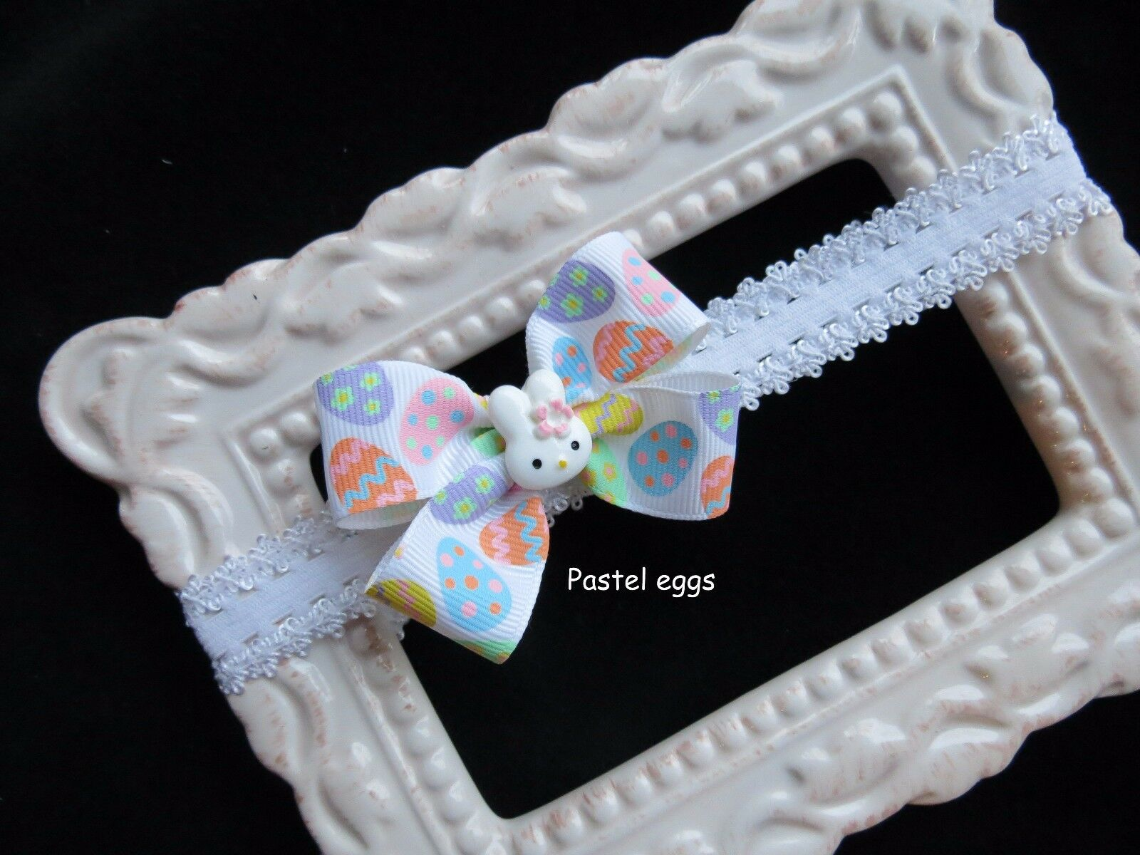 EASTER bunny infant hair bow headband lace small white preem