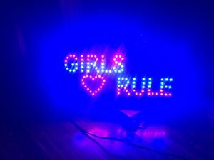 Girls rule neon sign