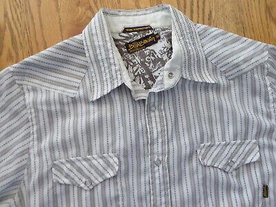 Billabong Pearl Snap Tan / Brown Striped Long Sleeve Shirt Office Casual Mens XL