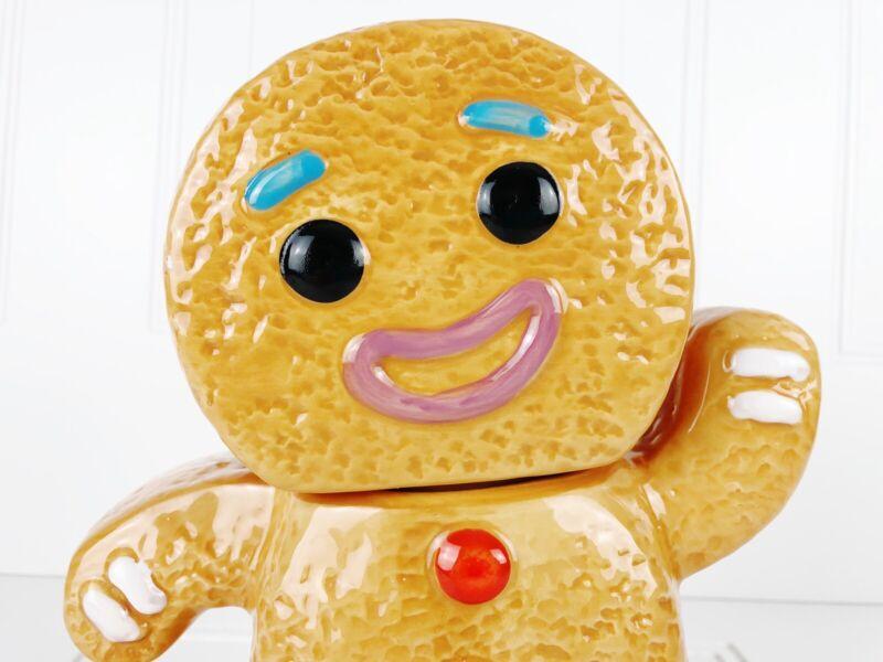 Gingerbread Man Textured Ceramic Christmas Cookie Jar Large Standing