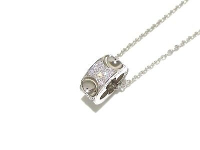 Auth LOUIS VUITTON Pendentif Empreinte Q93127 18K White Gold Diamond Necklace