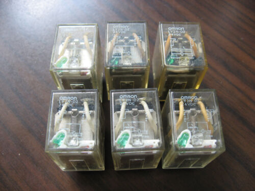 Lot of 6 Omron LY2ZN-D2 Cube Relays (8 Pin Square, 24 VDC Coil)