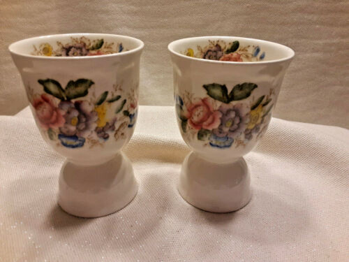 Pair of Vintage Cream Porcelain Double  Egg Cups Rose Lavender Yellow Floral
