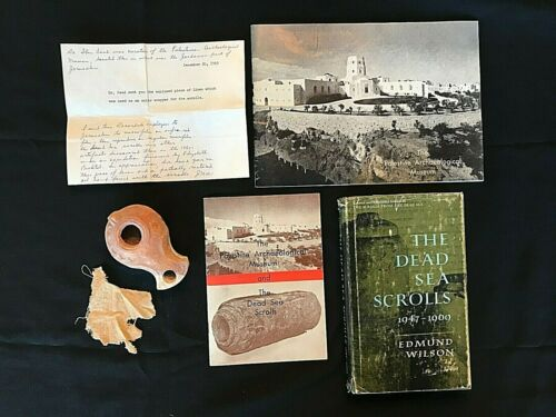 Ancient Biblical Dead Sea Scrolls Clay Oil Lamp & Linen Fragment -Provenance