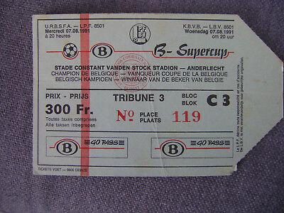TICKET CLUB BRUGGE - KV MECHELEN  SUPERCUP   07/08/1991