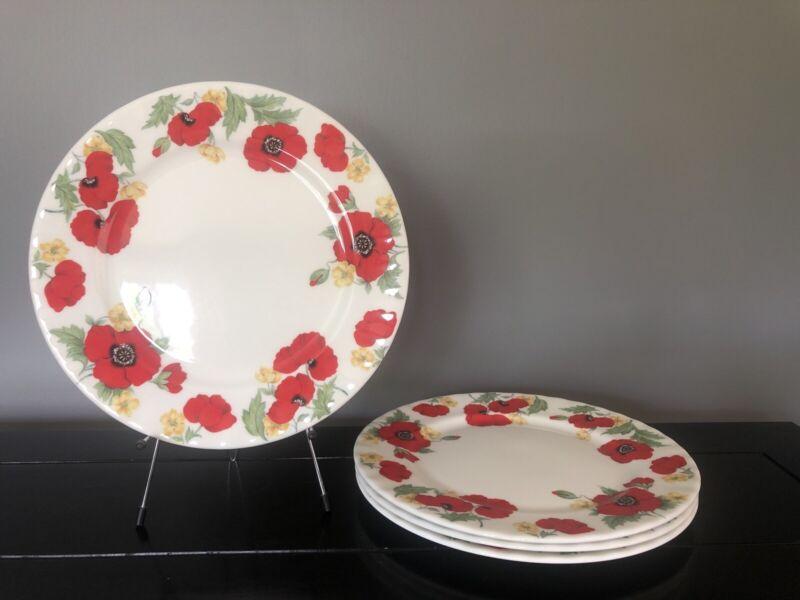 Set of 4 Roy Kirkham MONET Fine Bone China Red Poppies 1992 Dinner Plates