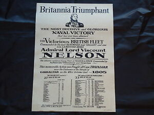 Admiral Lord Nelson Poster Britannia Large Pub Inn Sign  Nice Framed- Film Prop
