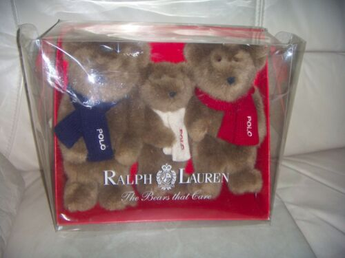 NEW VINTAGE -2001 Ralph Lauren POLO Bears 3 Plush Stuffed Toy Embroidered Scarf