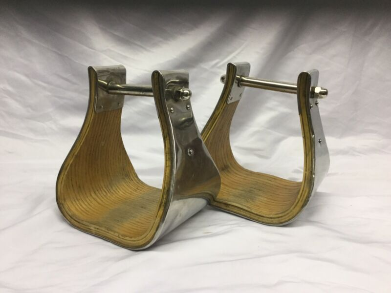 Buckaroo Business Bell Western Stirrups- Stainless Steel Covered Wood Stirrup