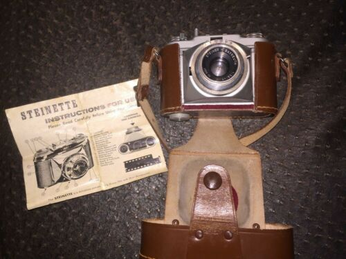 VINTAGE STEINETTE CAMERA WITH LEATHER CASE & INSTRUCTIONS