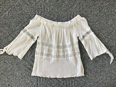Jesper Women's Off The Shoulder 3/4 Sleeve Top Blouse Shirt w/ Lace S White  (Off The Shoulder 3 4 Sleeve Top)