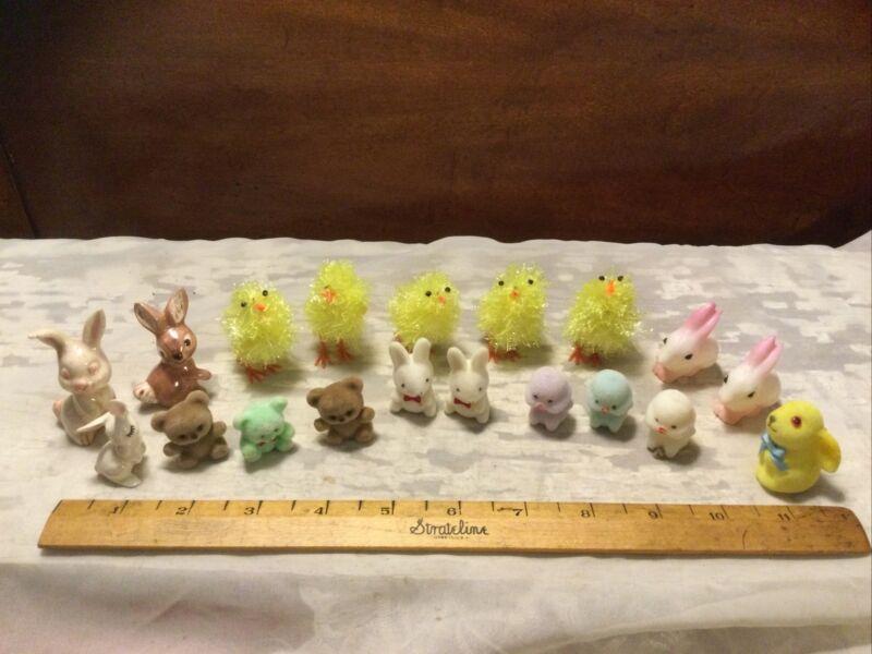 Large Lot Vintage Miniature Easter Chicks, Rabbits & Teddy Bears-Ceramic-Plastic