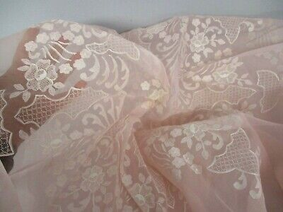 "VINTAGE PINK SHEER ORGANDY 78"" ROUND TABLECLOTH with EMBROIDERED FLOWERS"