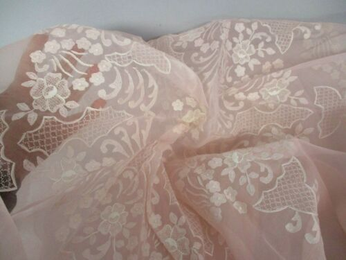 """VINTAGE PINK SHEER ORGANDY 78"""" ROUND TABLECLOTH with EMBROIDERED FLOWERS"""