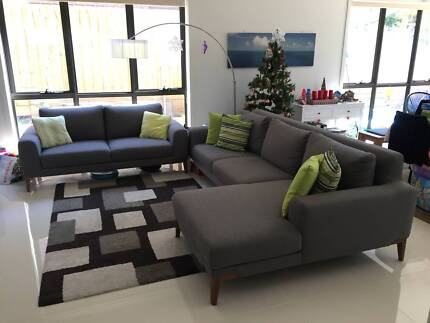 3 seater fabric chaise sofa lounge Sofas