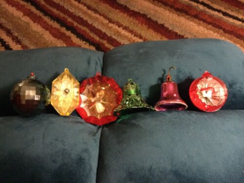 Vintage Bradford Plastic Christmas Ornaments, lot of 6