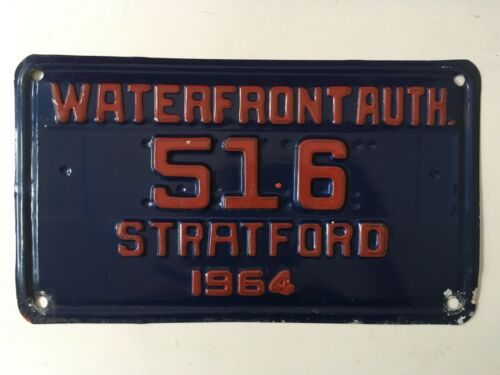 "1964 Stratford Connecticut Waterfront Authority License Plate ""VG"" Nice"