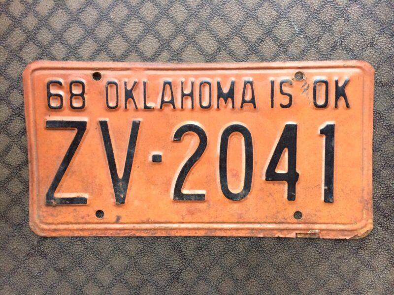 1968 OKLAHOMA LICENSE PLATE ZV 2041