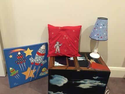 Gorgeous hand made and painted toy box and bedroom decor