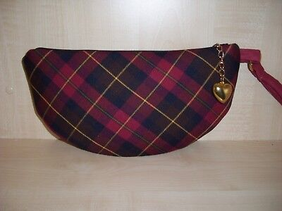 Half moon tartan check red, black & gold, zip clutch bag with wrist strap, BN Half Moon Zip