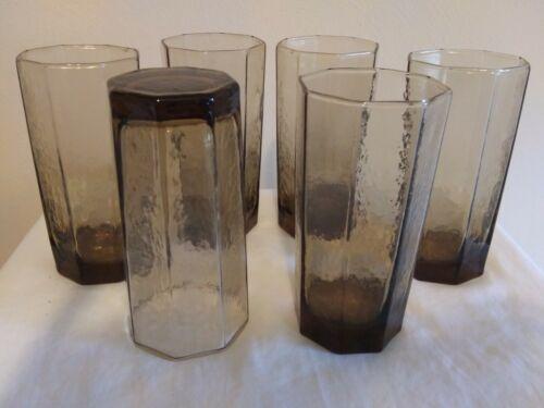 9 oz Vintage Smoked Glass Tumblers. Set of 6. Tawny Brown Textured.