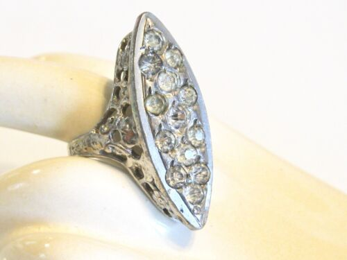 ART DECO FRENCH PASTE RHINESTONE FILIGREE MARQUISE NAVETTE BOAT FLORAL RING SZ 4