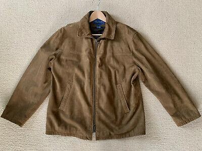 Faconnable Men's Cowhide Suede Leather Brown Tan Jacket Coat - Medium (Men Cowhide Leather)