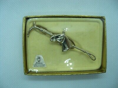 Vintage 1950/'s Horseback Riding Brooch Pin with Riding Crop WESTERN JEWELRY