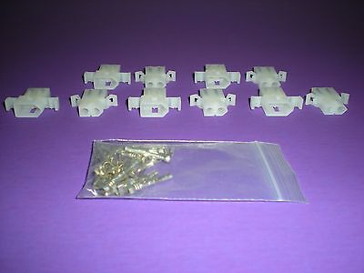 2 Pin Molex Connector Lot 5 Matched Sets W14-20 Awg .093 Pins Panel Mount