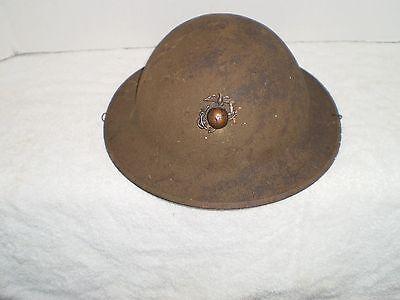 Original U.S. WW1 Helmet M1917 ZB55 with original WW1 USMC badge