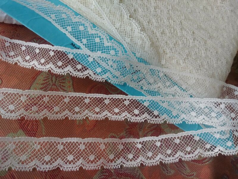 "5/8"" wide Antique lace Val 5 yards Poka Dots 90 percent Cotton"