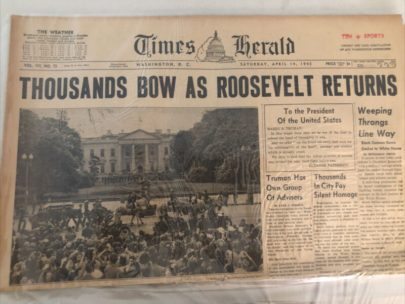Newspaper Headline Pages Only, Thousands Bow As Roosevelt Returns, April 14,194